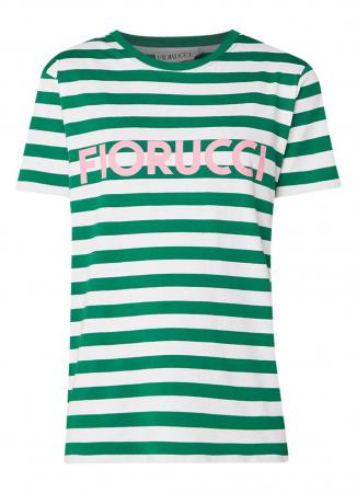 Groen-wit gestreept T-shirt met roze opschrift