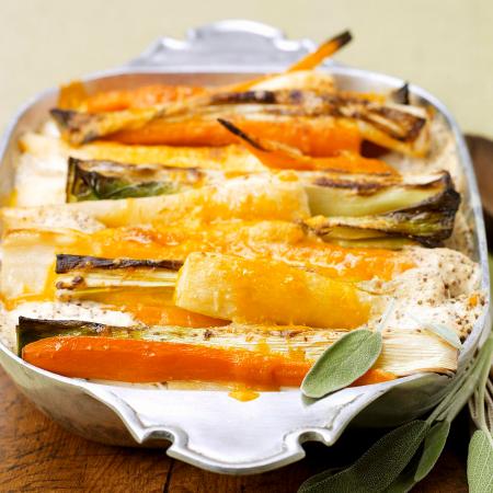 Ovenschotel met wortel, prei en pastinaak