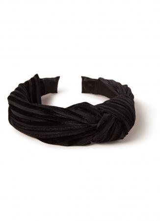 Fluwelen haarband in zwart met streepjesmotief