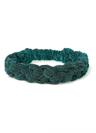 Gevlochten haarband in groen met lurex