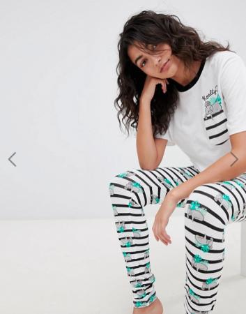 Zwart-wit gestreepte pyjama met koala's