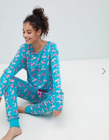 Turquoise pyjama met flamingo's