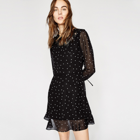 Semitransparante jurk met print