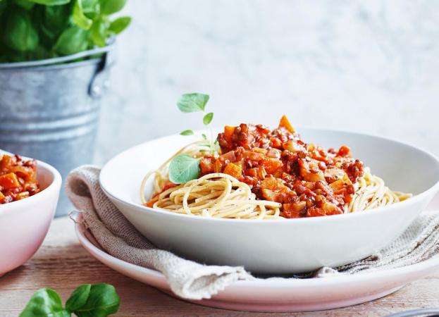 Dinsdag: spaghetti met veggie bolognese