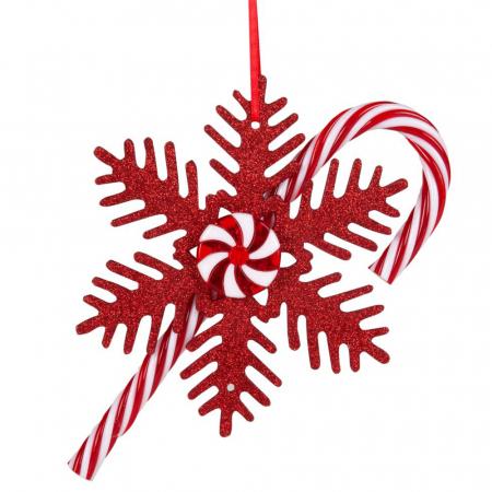 Kersthanger roze sneeuwvlok en zuurstok
