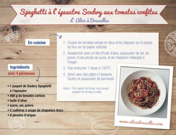 Spaghetti à l'épeautre aux tomates confites