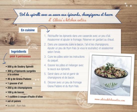 Bol de spirelli avec sa sauce aux épinards, champignons et bacon