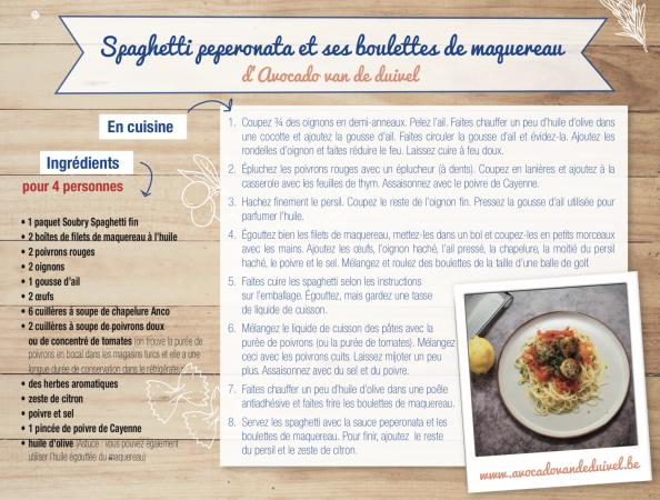 Spaghetti peperonata et ses boulettes de maquereau