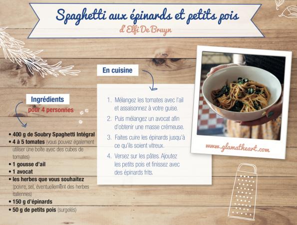 Spaghetti aux épinards et petits pois