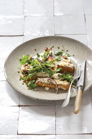 Winterse salade met pompoen, linzen en feta