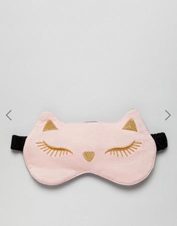 Roze oogmasker met kattenoortjes
