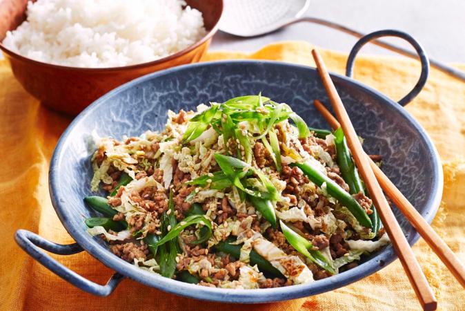 Vrijdag: wok van vargensgehakt en groene groenten