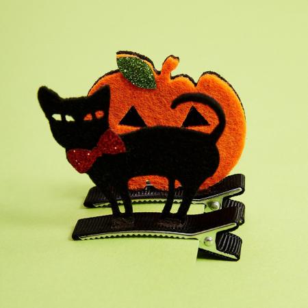 Barrettes chat noir et citrouille