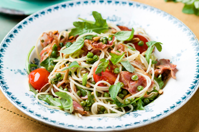 Capellini met pancetta