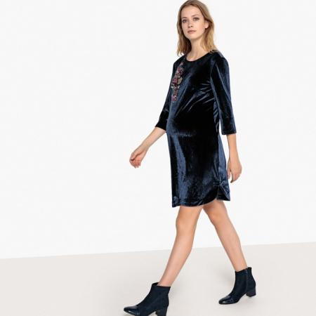 Velvet dress met print vooraan en open rug achteraan