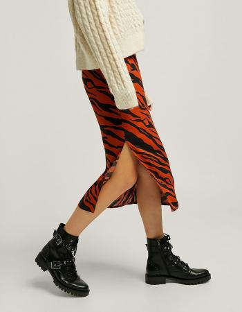 Roestkleurige midirok met tijgerprint en split