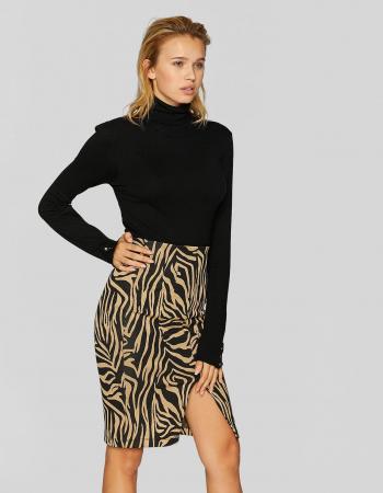 Beige kokerrok met tijgerprint en split