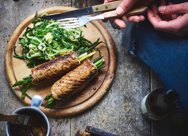 Biefstukrolletje met groenten