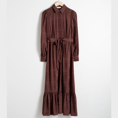Midi-jurk met ruffles