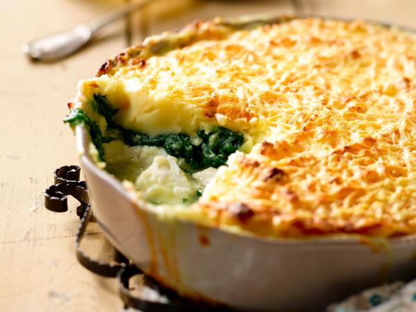 Vrijdag: aardappelgratin met vis en spinazie