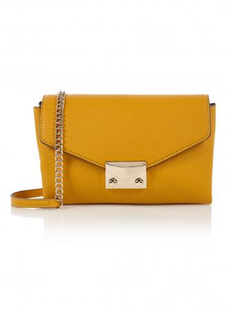 Mosterdgele crossbody bag met goudkleurige ketting