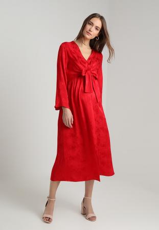 Rode maxi-jurk met slangenprint en grote strik