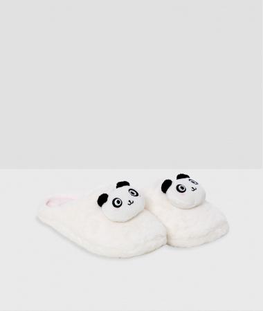 Witte slippers met panda's