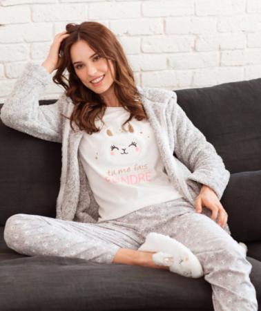 Grijs-witte pyjamaset met alpaca's