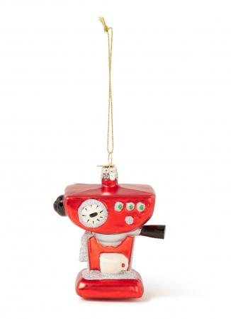 Kerstornament in de vorm van een koffiemachine
