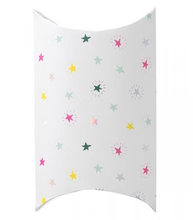 Emballage pliable blanc avec étoiles multicolores