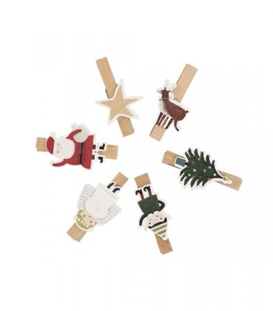 Pinces à linge avec figurines de Noël