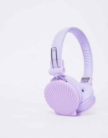 Lila headphone met schelpen