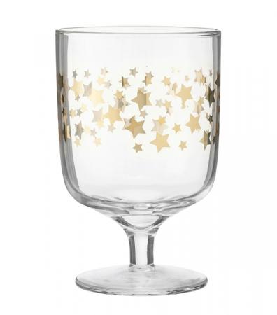 Wijnglas met gouden sterretjes