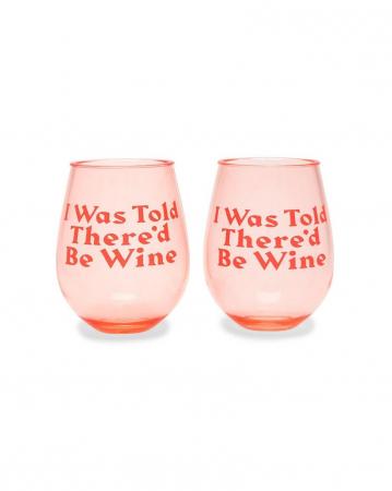Set van 2 roze glazen met opschrift 'I was told there'd be wine'