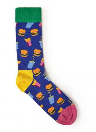 Blauwe sokken met junkfoodprint