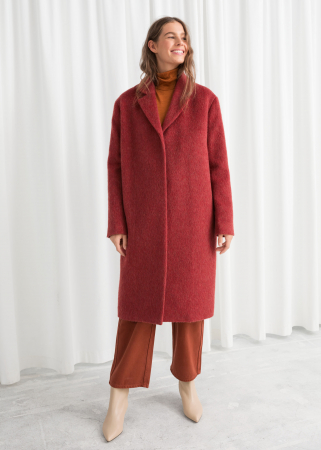 Manteau oversized burgundy en laine