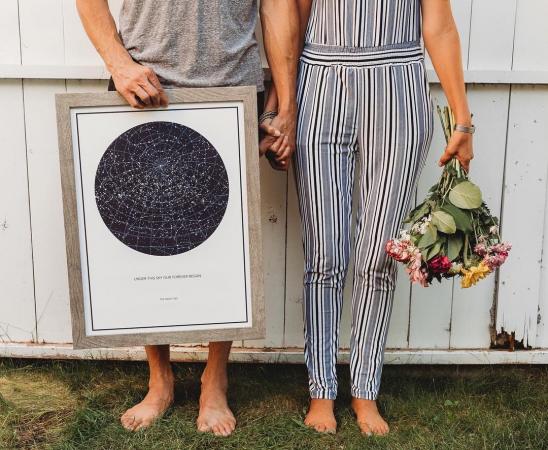 Een poster met de sterrenstand op het moment van het huwelijksaanzoek