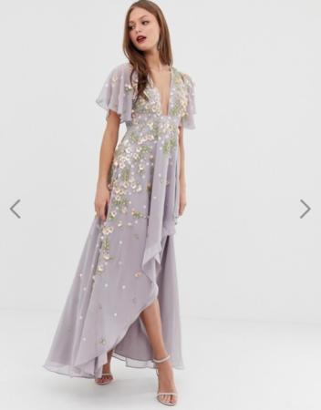 Asymmetrisch maxi-jurk met 3D-bloemen in lila