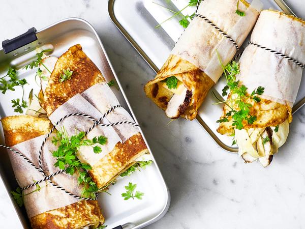 Pannenkoekwraps met kip en witloof
