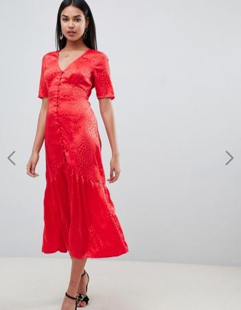 Maxi-jurk met knoopjes en korte mouwen in jacquard
