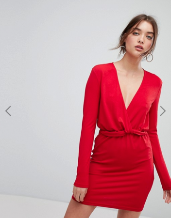 Mini-jurk met lange mouwen en diepe V-hals