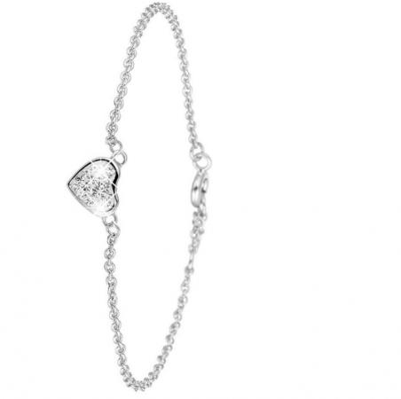 Zilveren armband met hartje van Swarovski-kristallen