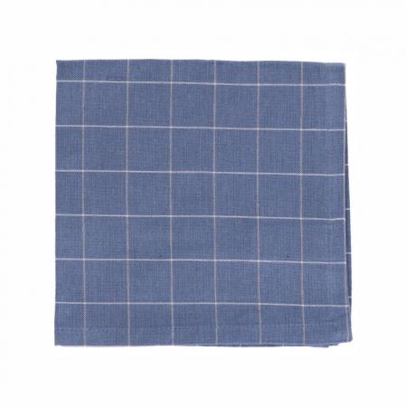 Serviette de table, coton bio, bleu denim carreaux