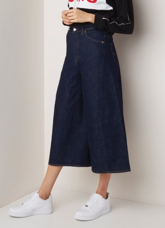 Denim culotte met hoge taille