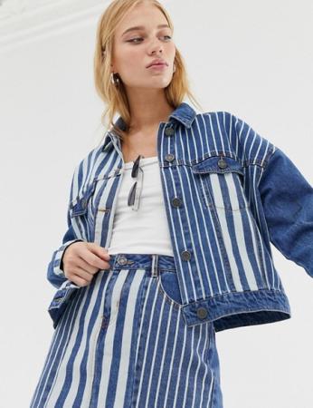 Veste en jeans à lignes