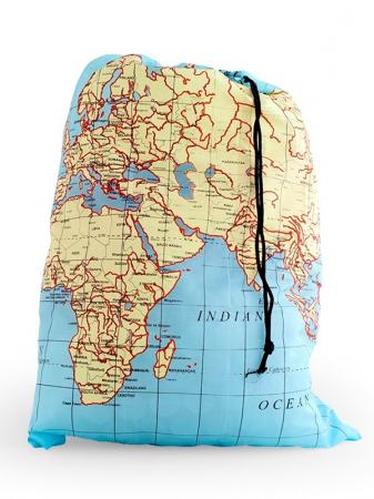 Waszak met wereldkaart