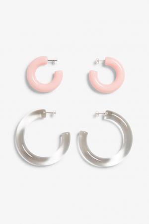 Set van 2 paar doorzichtige en roze oorringen