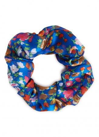 Kobaltblauwe scrunchie met bloemenprint