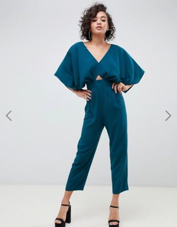 Petroleumblauwe jumpsuit met kimonomouwen