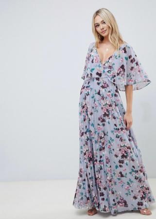 Lila maxi-jurk met bloemenprint